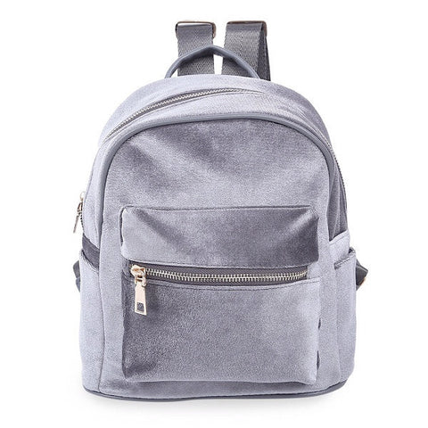 GREY VELVET - Mini Backpack
