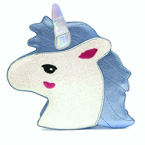 BLUE GLITTER UNICORN - Cross Body Bag