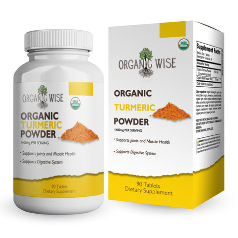 Organic Turmeric Curcumin With Black Pepper Antioxidant supplement For Joint Pain Relief and Inflammation - 1400 mg Tumeric Curcumin With Bioperine Supplements - 90 Tablets By Organic Wise