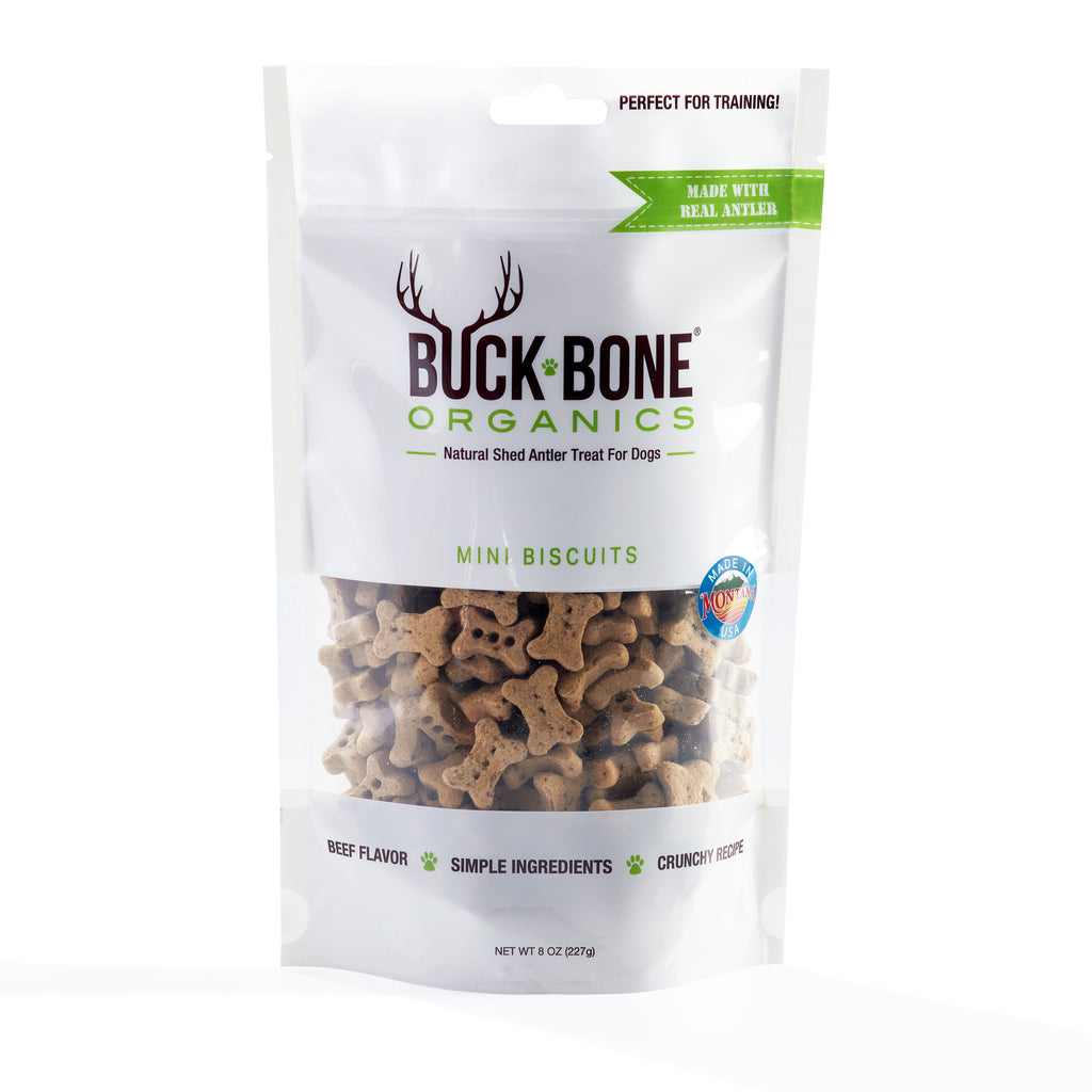Buck Bone Organics Original Recipe Antler Dog Biscuits Mini Size 8 OZ