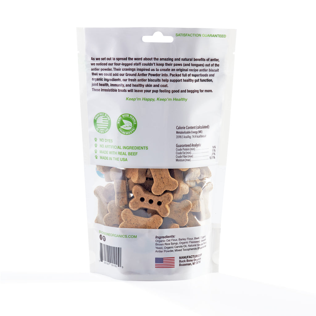 Buck Bone Organics Medium Antler Dog Biscuits, Made with Real Antler 8 oz