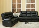 Sofa Set in a Brown PU Material with Drop Down Cup Holders in the Sofa and Console in the Love Seat (Not Exactly as Shown)