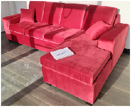 CANADIAN MADE Left and Right Hand Sectionals in a Red Velvet