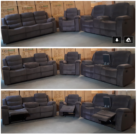 Copy of Sofa Set in a Chocolate Velvet with Drop Down Cup Holders in the Sofa, Console in the Love Seat and a Glider Reclining Chair