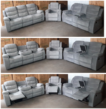 Sofa Set in a Grey Velvet with Drop Down Cup Holders in the Sofa, Console in the Love Seat and a Glider Reclining Chair (Not Exactly as shown)