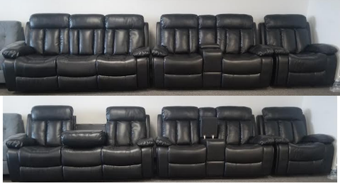 The Devon Collection Three Piece Sofa Set in a Black Air Leather