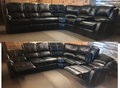 Black Reclining Leather Aire Sectional with White Contrast Stitching and Console