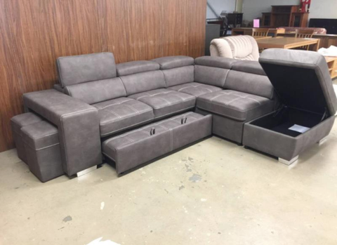 Pull out Bed Sectional with storage and two stools