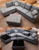 Astoria U5462 - 2 PC Sectional Right Hand Facing Sectional with Storage Chaise in a Grey Microfiber.  *Not Exactly as Shown*