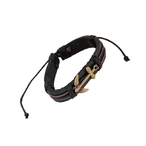 Men's Anchor Design Alloy Leather Bracelet Black