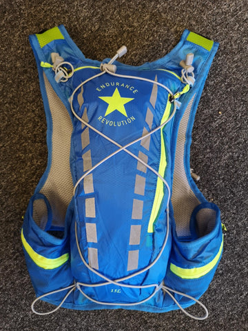 Endurance Revolution Elite Trail Vest 15 Ltrs Blue/Neon (Incl soft flasks)