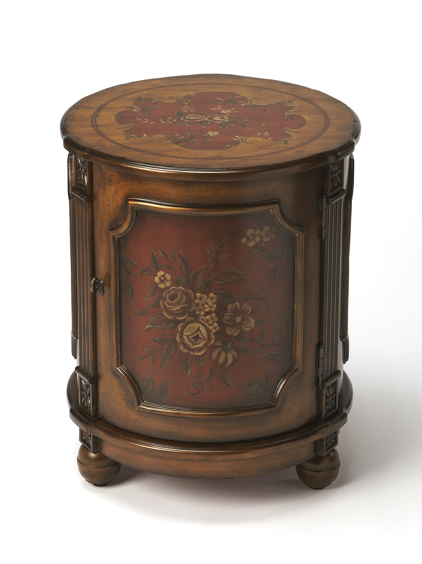 Thurmond Red Hand Painted Drum Table by Butler Specialty Company 0584065