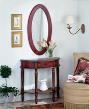 Mozart Red Hand Painted Demilune Console Table by Butler Specialty Company 0667065