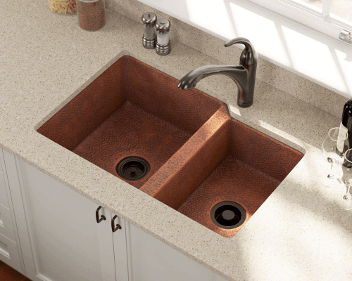 Polaris P109 Offset Double Bowl Undermount Copper Sink