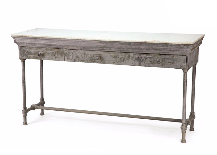 Artisanal Marble and Steel Antique Finished Table - The Rustic Furniture Store