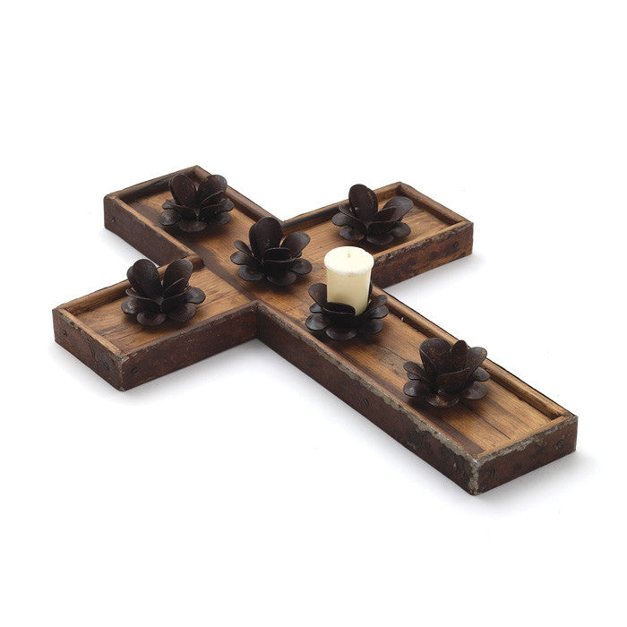 Rustic Rose Cross Wood and Metal Candle Holder - The Rustic Furniture Store