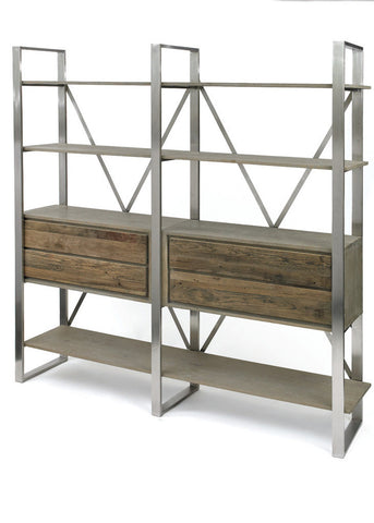 Colgan Wood and Metal Bookshelf - The Rustic Furniture Store