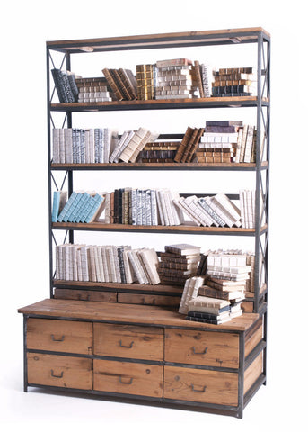 Baxter Bench | Wood and Metal Bookcase - The Rustic Furniture Store