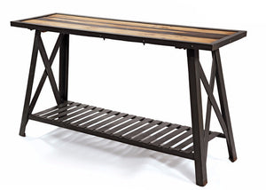 St. Charles Steel and Reclaimed Wood Console Table - The Rustic Furniture Store