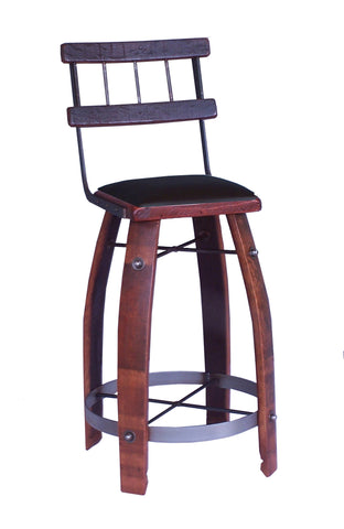 "Wine Barrel Stool 28"" Chocolate W/ Back by 2 Day Designs 169C28"
