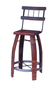 "Wine Barrel Stool 28"" W/ Back by 2 Day Designs 169W28"