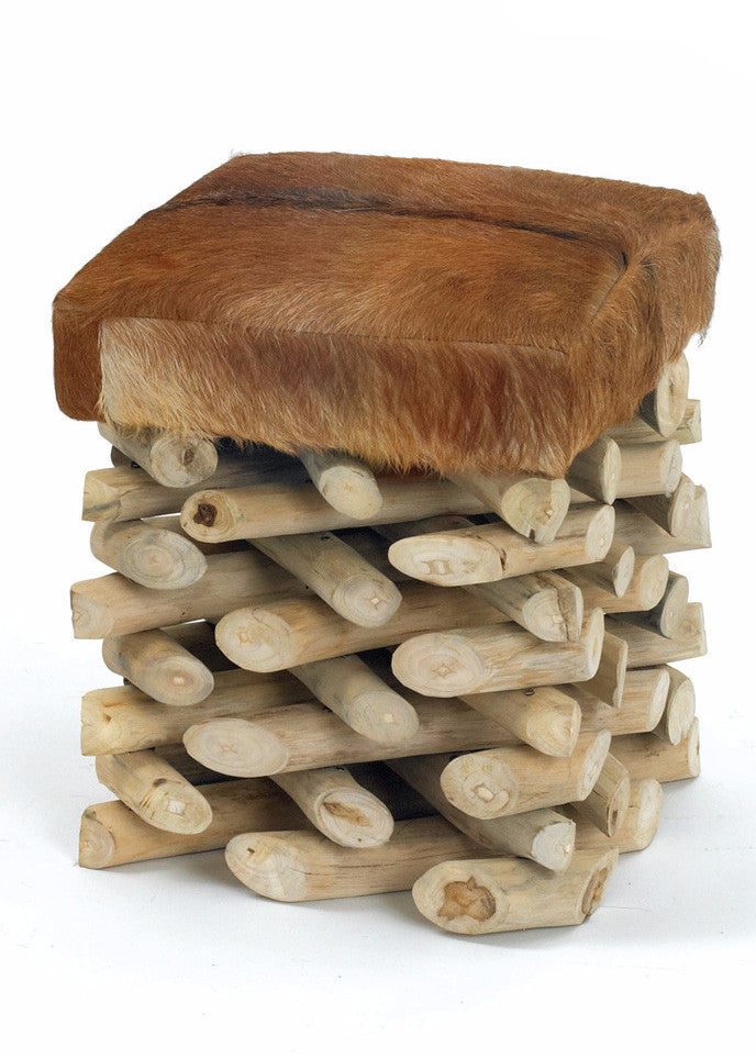 Log Cabin Stool - The Rustic Furniture Store