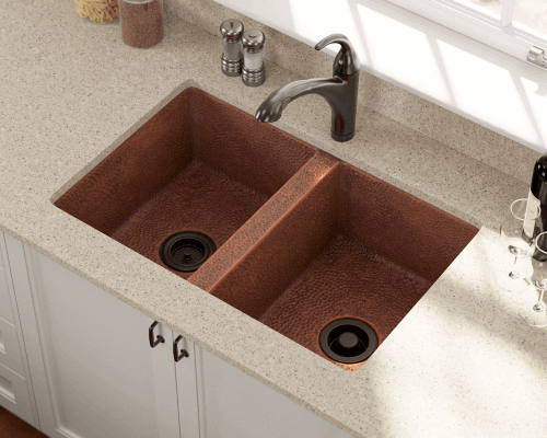 Polaris Sinks P209 Undermount Copper 33 in. Double Bowl Kitchen Sink