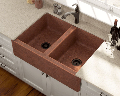 Polaris Sinks P219 Farmhouse Apron Front Copper 35 in. Double Bowl Kitchen Sink