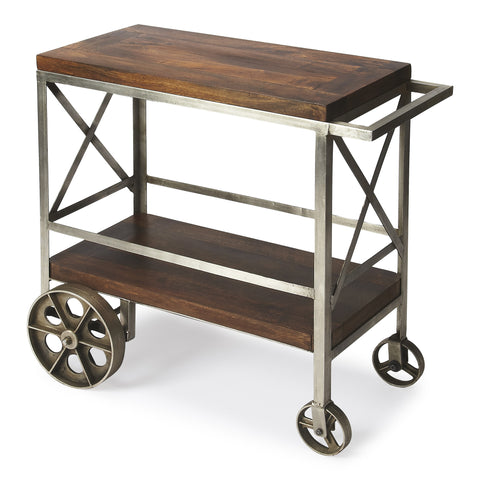 Mango Wood and Iron Industrial Chic Trolley Server Cart by Butler Specialty Company 3541330