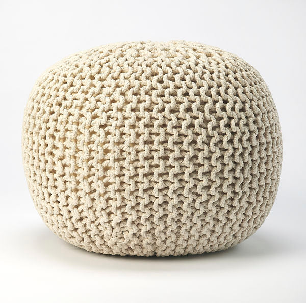 Butler Pincushion Cream Woven Pouffe