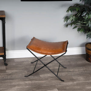 Butler Melton Brown Leather And Iron Stool