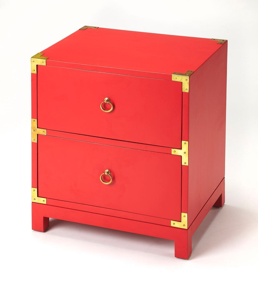 Butler Ardennes Red Campaign Chairside Chest