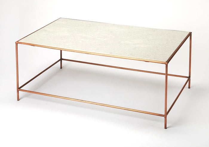 Butler Copperfield White Marble Coffee Table
