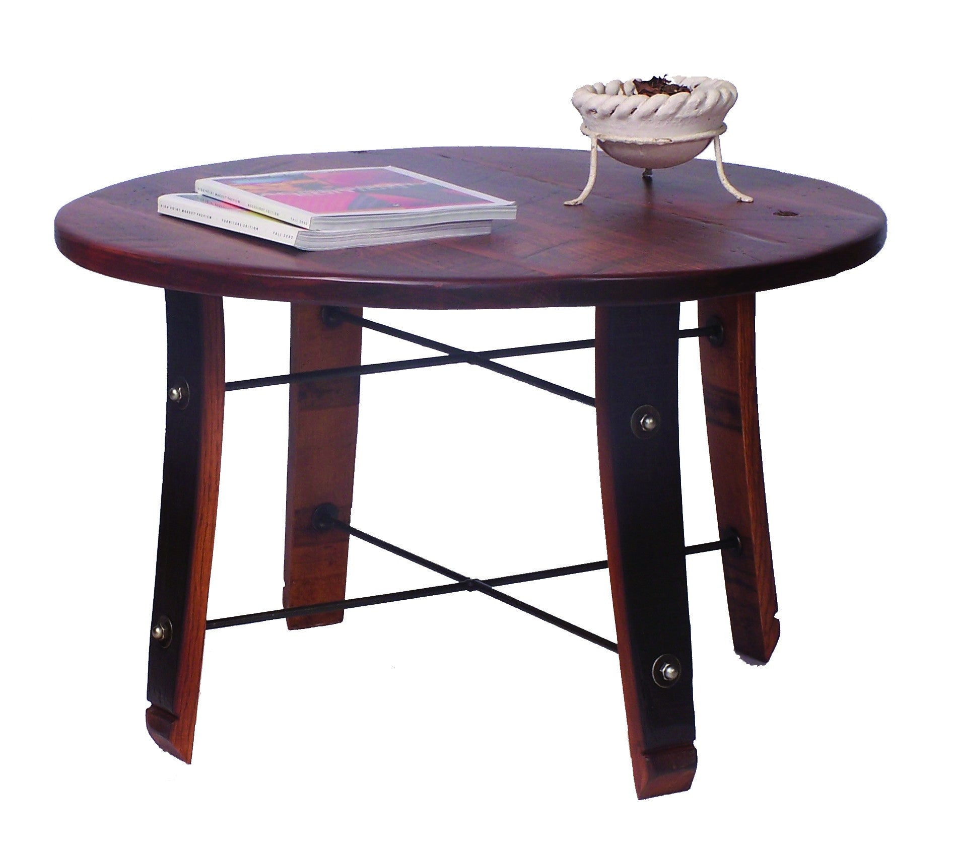 Round wine barrel stave coffee table 2 day designs 4065 for 1 2 wine barrel table