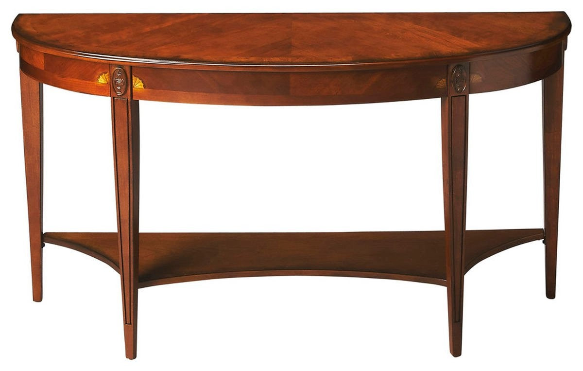 Butler Specialty Company Astor Olive Ash Burl Demilune Console Table