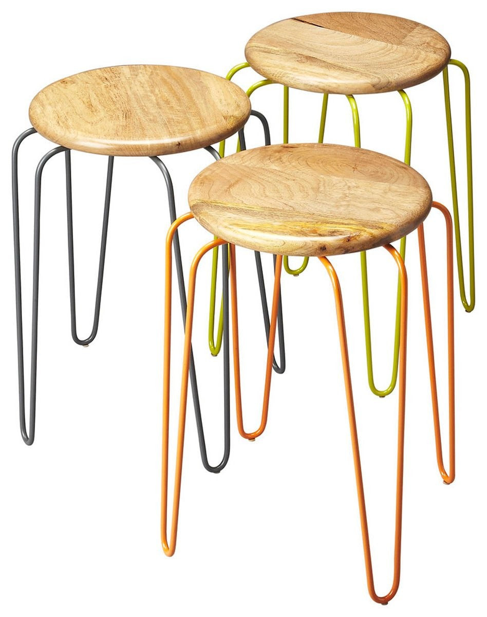 Butler Easton Wood & Iron Stackable Stools