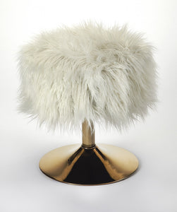 Butler Nona White Faux Fur Stool