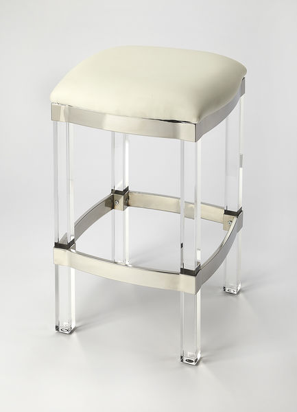 Butler Jordan Acrylic & White Leather Counter Stool