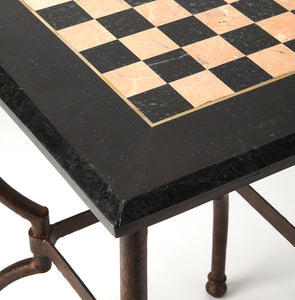 Metal Works Chess and Checkers Game Table