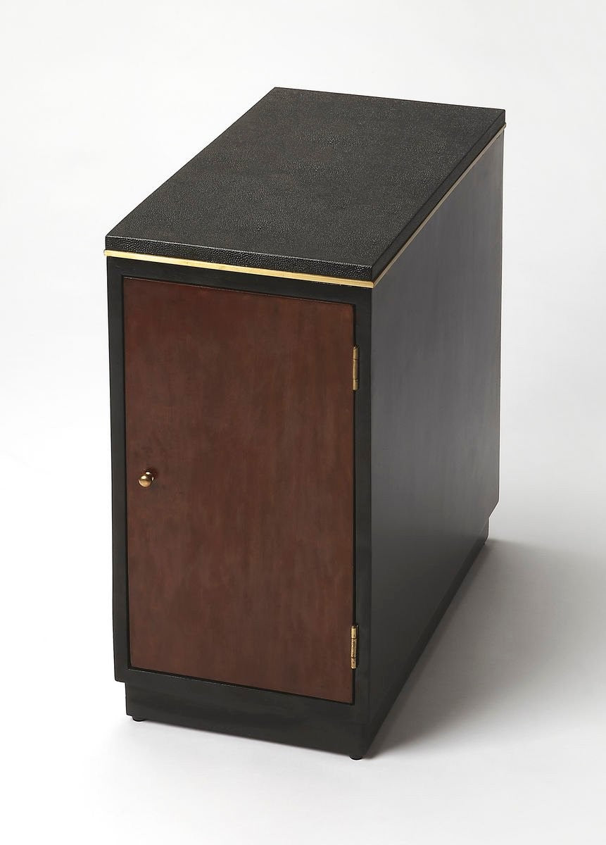 Butler Onyx Leather Chairside Table