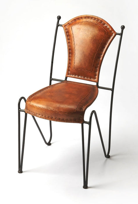 Butler Coriander Iron & Leather Side Chair