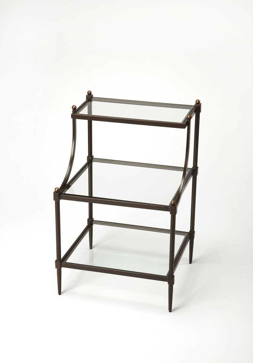 Butler Peninsula Metal & Glass Tiered Side Table