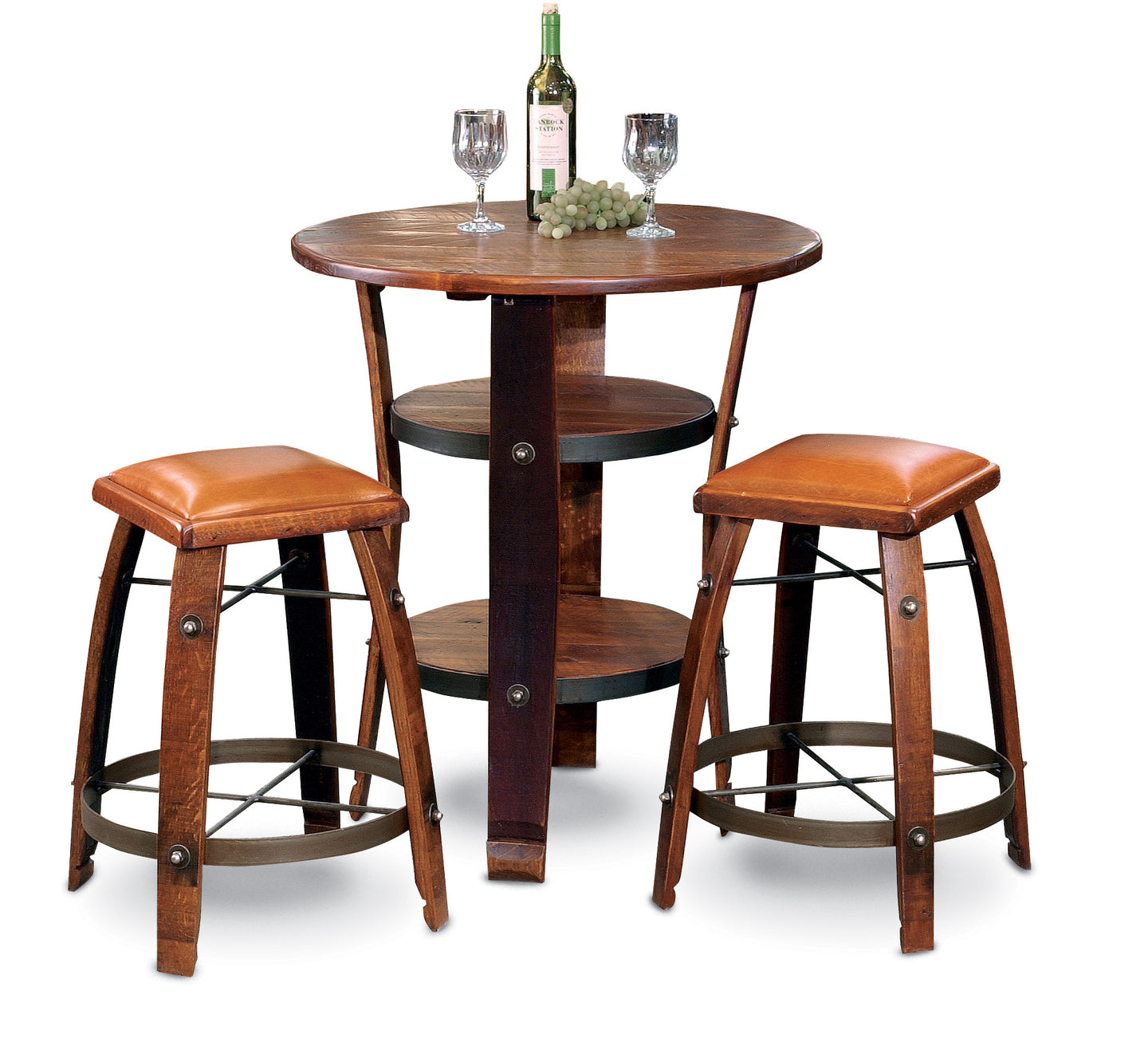 Wine Barrel Stave Stool Tan Leather 24