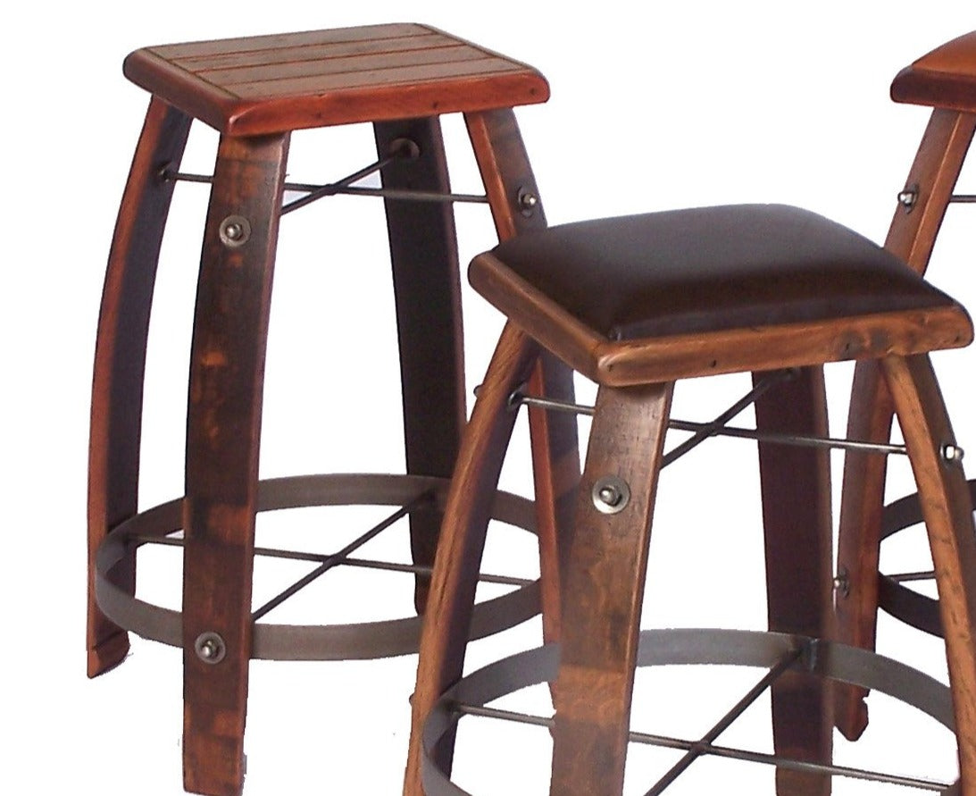 Wine Barrel Reclaimed Wood 24 Quot Stave Stool With Wood Top 2