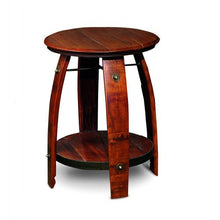 "Wine Barrel Side Table Reclaimed Wood Staves 28"" 2 Day Designs 819"