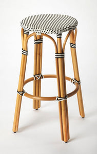 Butler Tobias Black & White Rattan Bar Stool