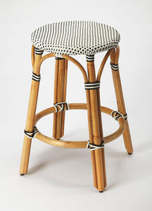 Butler Specialty Company Tobias Black & White Rattan Counter Stool