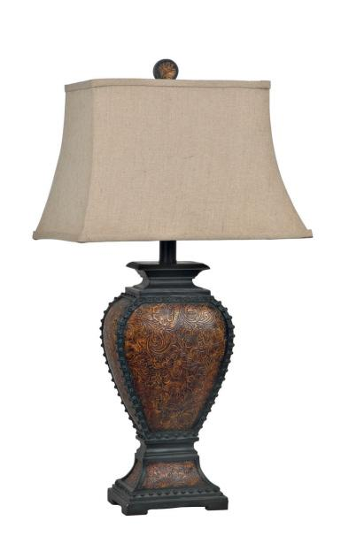 Tooled Leather Table Lamp
