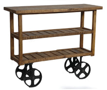 Bengal Manor Mango Wood Industrial Cart - The Rustic Furniture Store