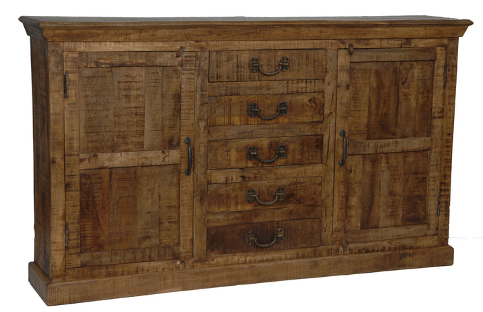 Bengal Manor Mango Wood 5 Drawer 2 Door Sideboard - The Rustic Furniture Store